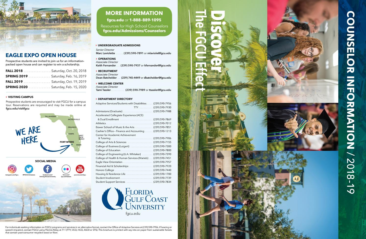 Fgcu Schedule Spring 2020.High School Counselor Information 2018 19 By Florida Gulf
