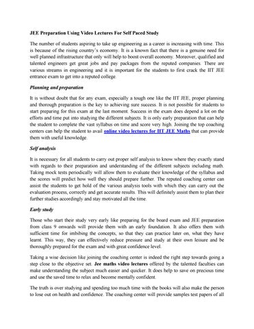JEE Preparation Using Video Lectures For Self Paced Study by