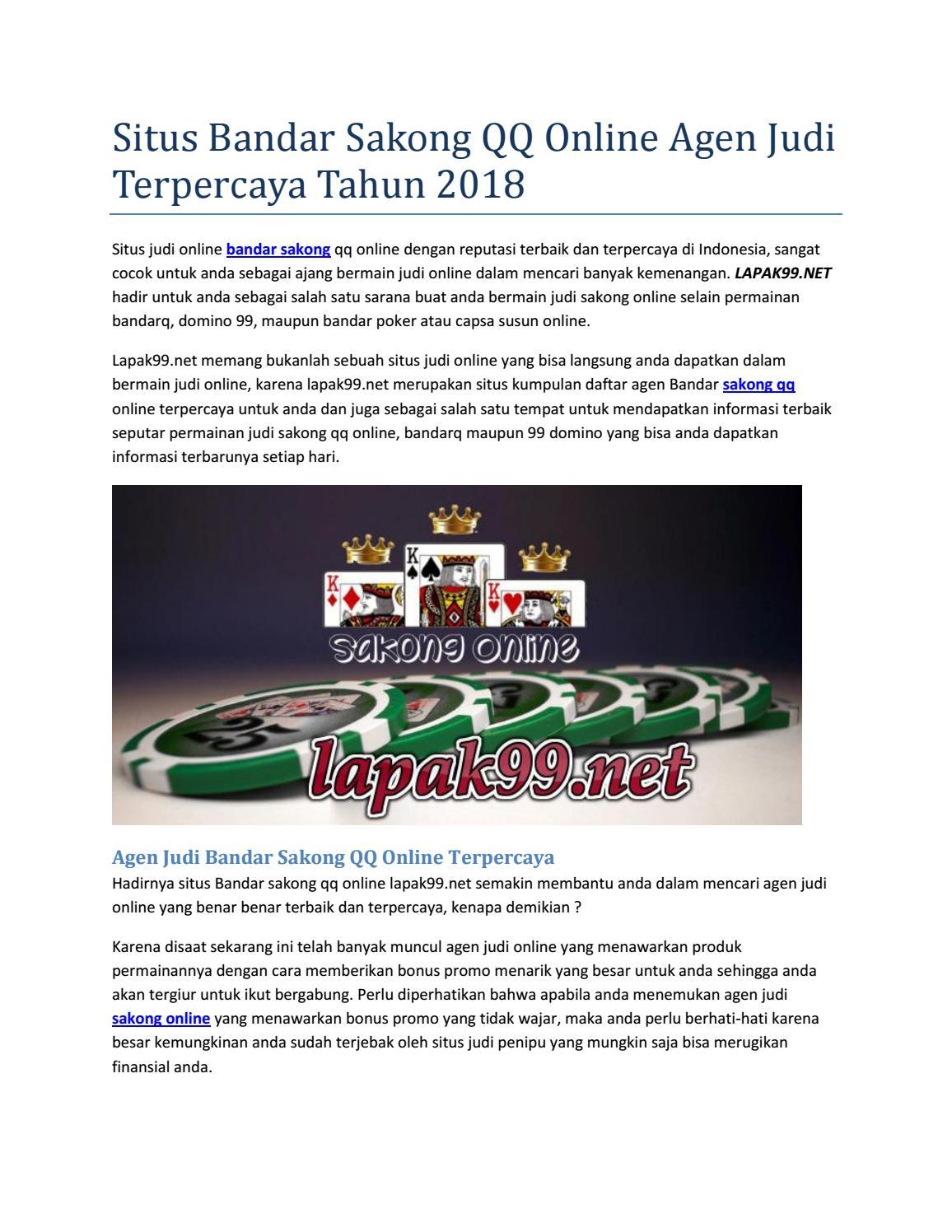 Situs Bandar Sakong Qq Online Agen Judi Terpercaya Tahun 2018 By Lapaksakong Issuu