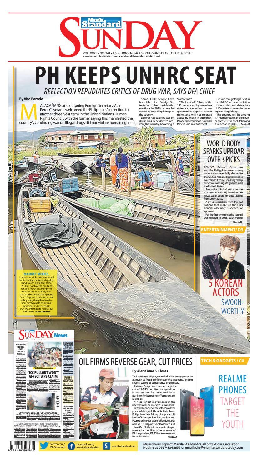 Manila Standard - 2018 October 14 - Sunday by Manila Standard - issuu
