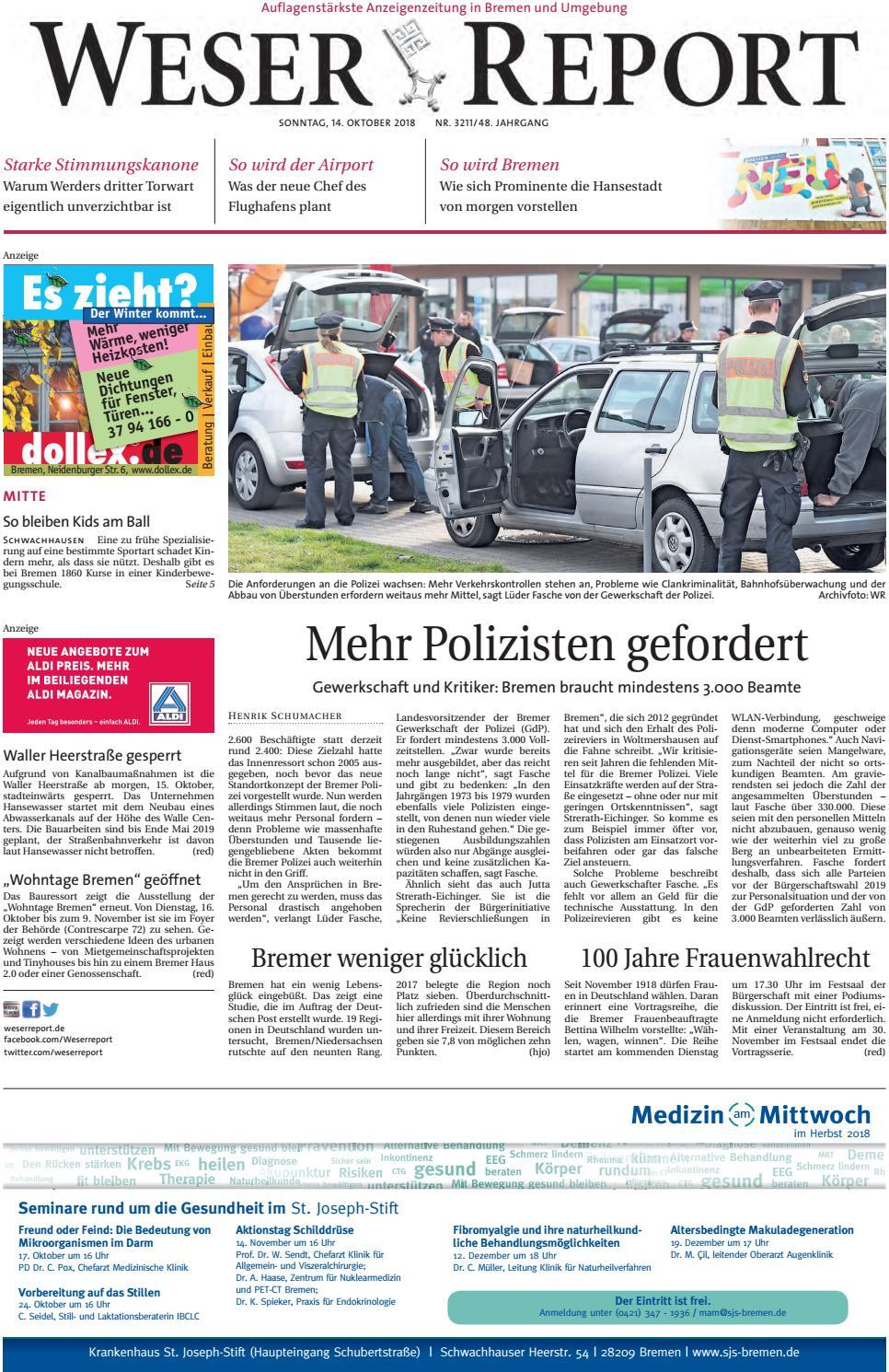 Weser Report Mitte Vom 14 10 2018 By Kps Verlagsgesellschaft Mbh