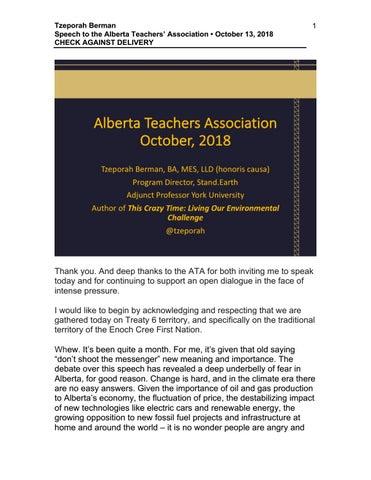 Tzeporah Berman Speaks at the Alberta Teachers' Association