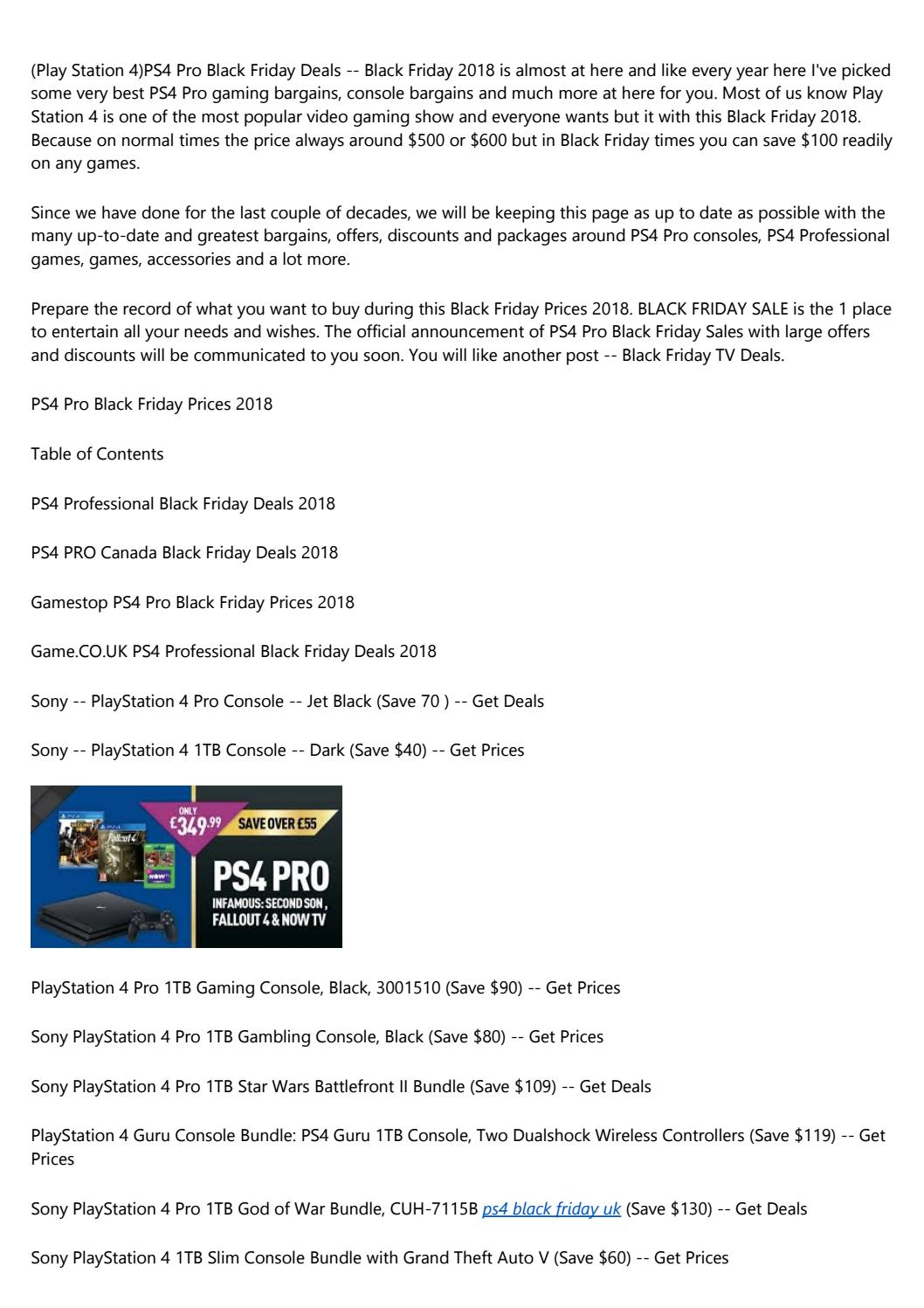 10 Best PS4 Pro Black Friday Deals 2018 – Save $100 on PS4