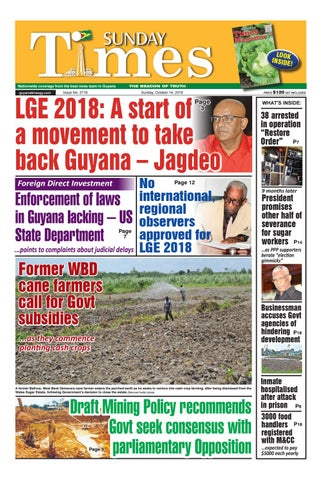 Guyana Times Newspaper - Sunday, October 14, 2018 by Gytimes