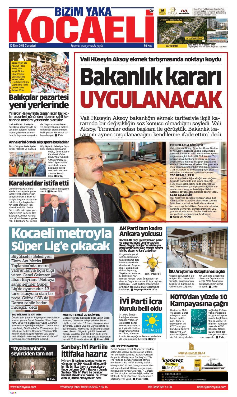 13 Ekim 2018 Kocaeli Bizim Yaka Gazetesi By Bizim Yaka