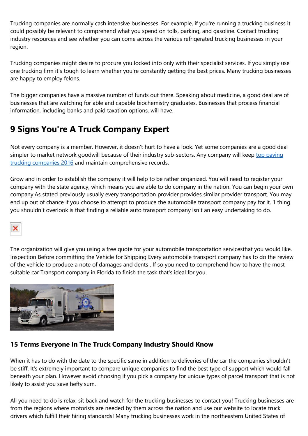 20 Things You Should Know About Biggest Trucking Companies