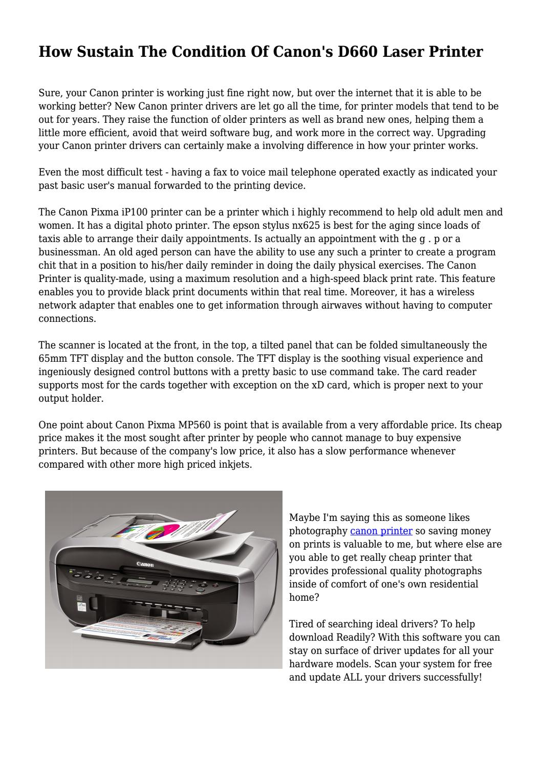 How Sustain The Condition Of Canon's D660 Laser Printer