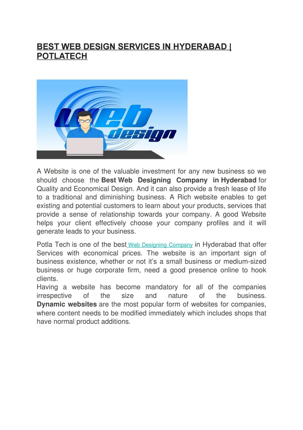 Best Web Design Services In Hyderabad Potlatech By Potla Tech Issuu