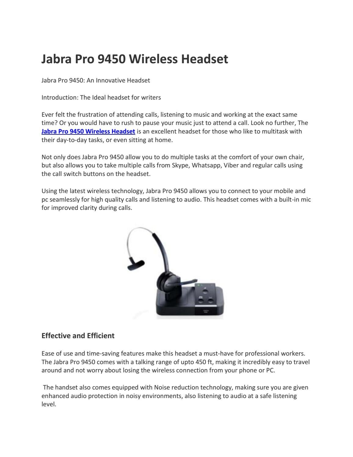 Jabra Pro 9450 Wireless Headset By Findheadsets Issuu