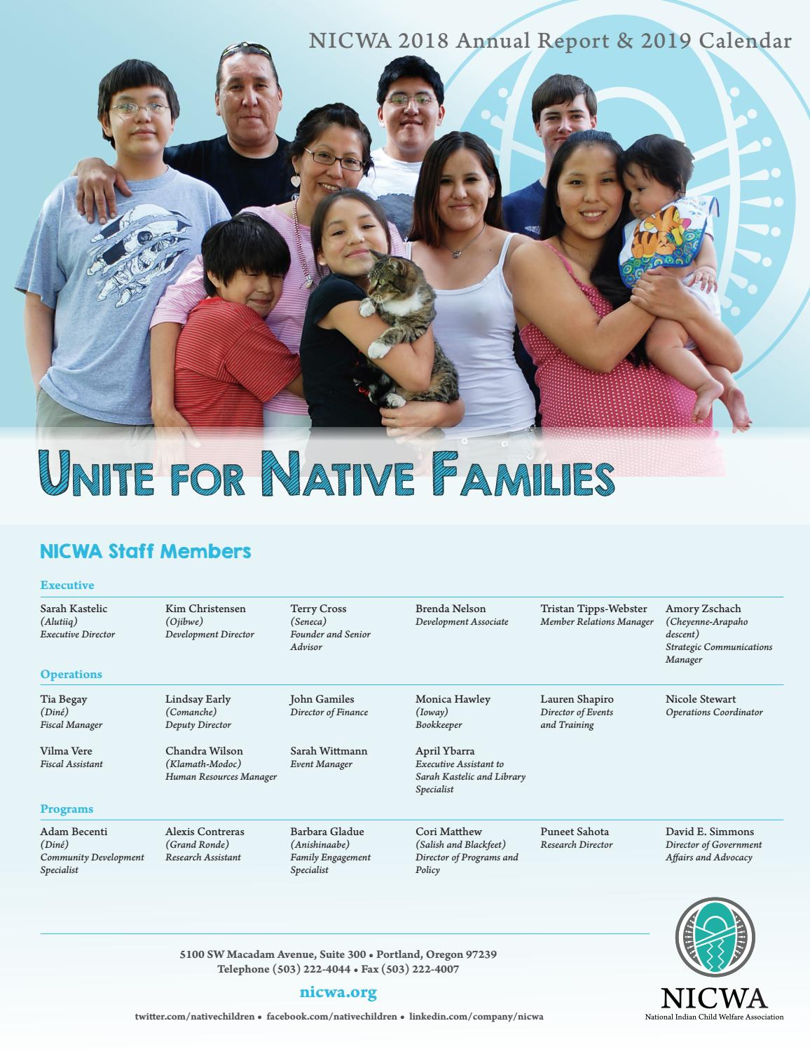 NICWA 2018 Annual Report by National Indian Child Welfare