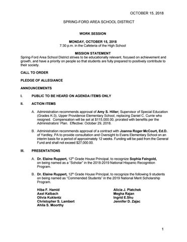 Spring Ford Work Session Agenda By Spring Ford Area School