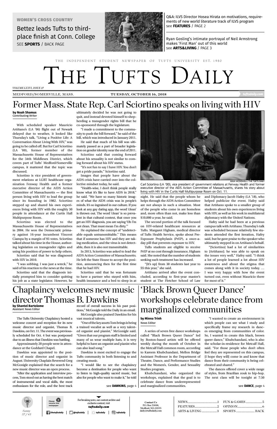 The Tufts Daily - Tuesday, October 16, 2018 by Tufts Daily - issuu