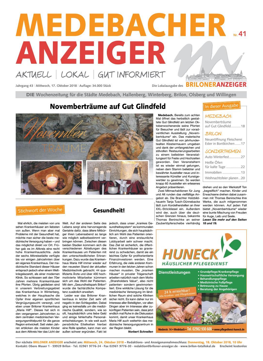 Medebacher Anzeiger Ausgabe Vom 17102018 Nr41 By Brilon