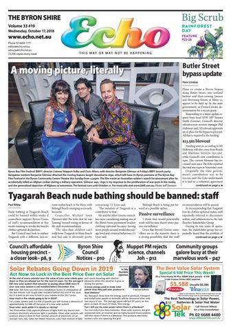 5fbcb776 The Byron Shire Echo – Issue 33.19 – October 17, 2018 by Echo ...