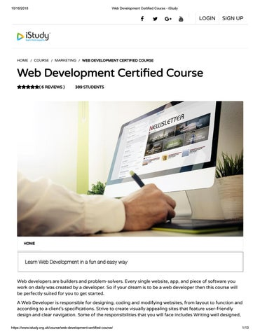 Web Development Certified Course Istudy By Istudyorguk Issuu