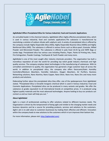 AgileNobel Offers Precipitated Silica for Various Industrial