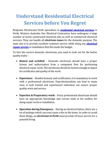 Understand Residential Electrical Services before You Regret by Greg