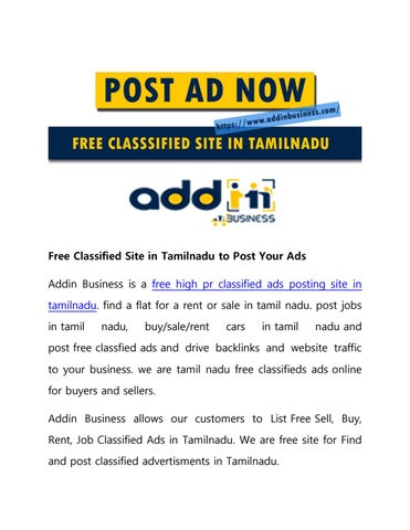 Free Classified Site in Tamilnadu to Post Your Ads by Addin Business