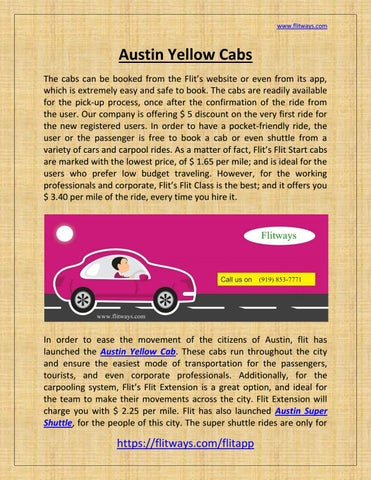 Cabs In Austin >> Austin Yellow Cabs By Flitways Issuu