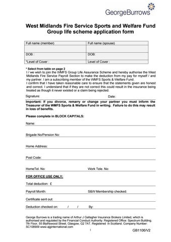 Wmfs group life scheme application form effective from 01 11