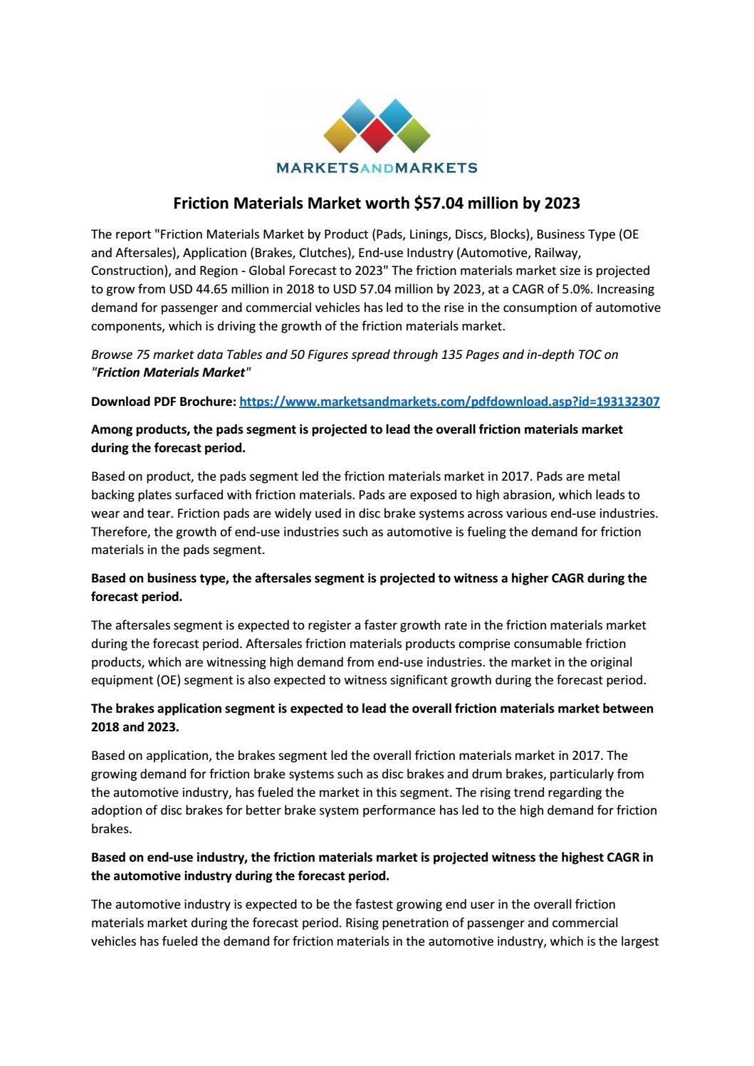 Friction Materials Market worth $57 04 million by 2023 by
