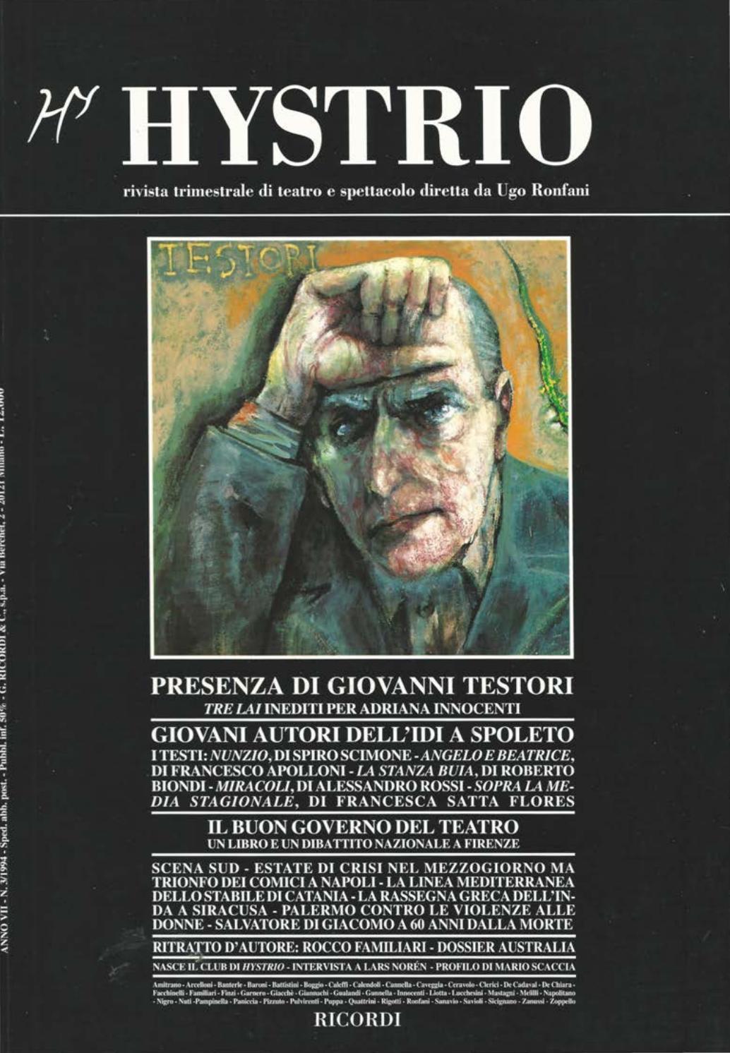 Hystrio 1994 3 Luglio Settembre By Hystrio Issuu