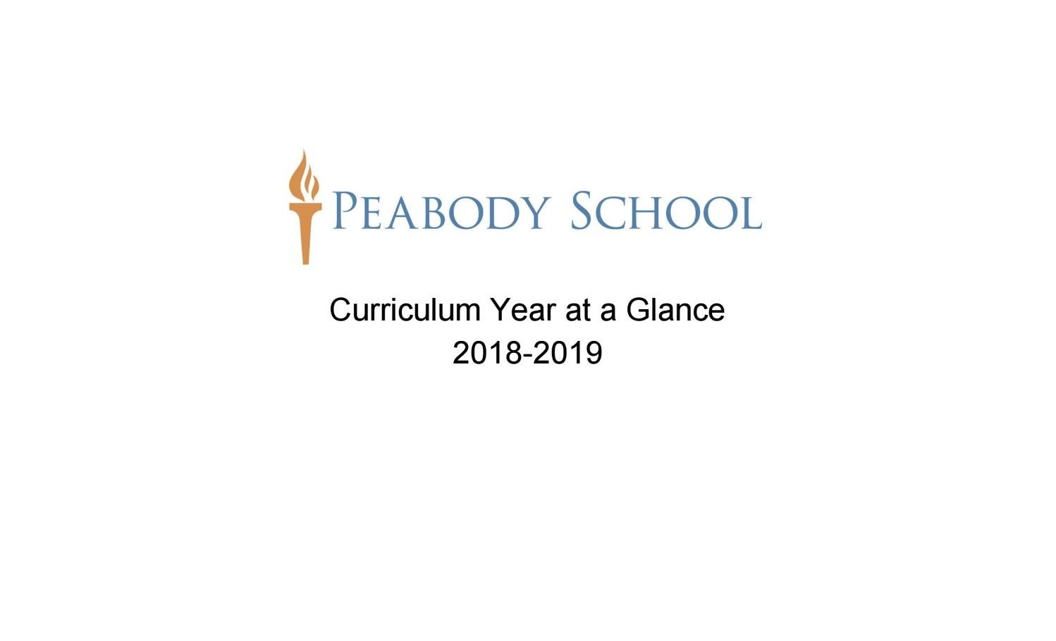 Peabody School 2018-2019 Curriculum Year at a Glance by