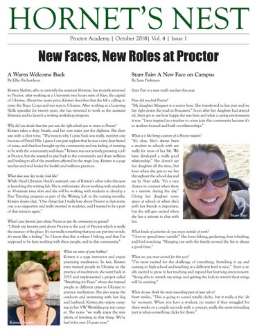 Hornet's Nest   Vol  4   Issue 1   October 2018 by Proctor Academy