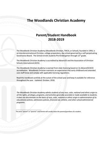 2018-2019 Parent/Student Handbook v  2018 10 by Woodlands