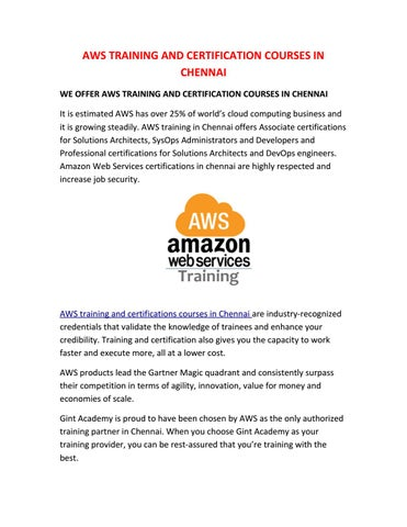 AWS TRAINING AND CERTIFICATION COURSES IN CHENNAI by GINT