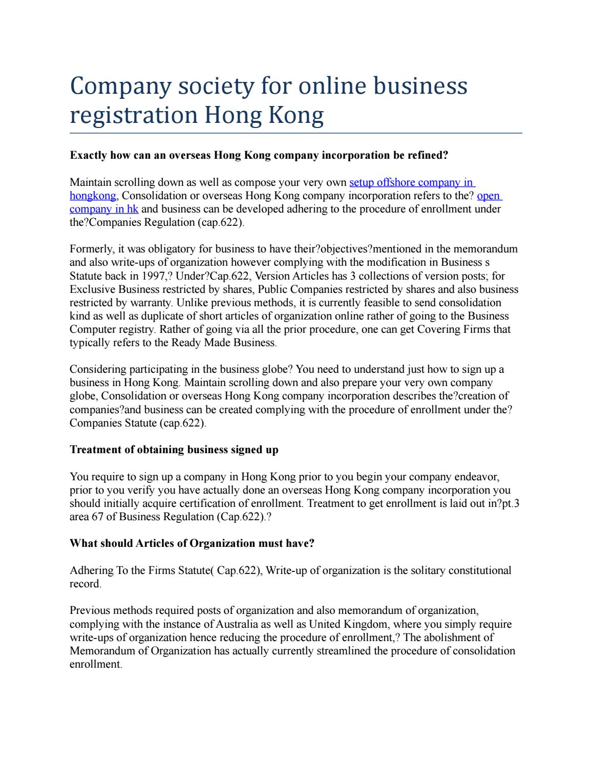 Company society for online business registration Hong Kong by