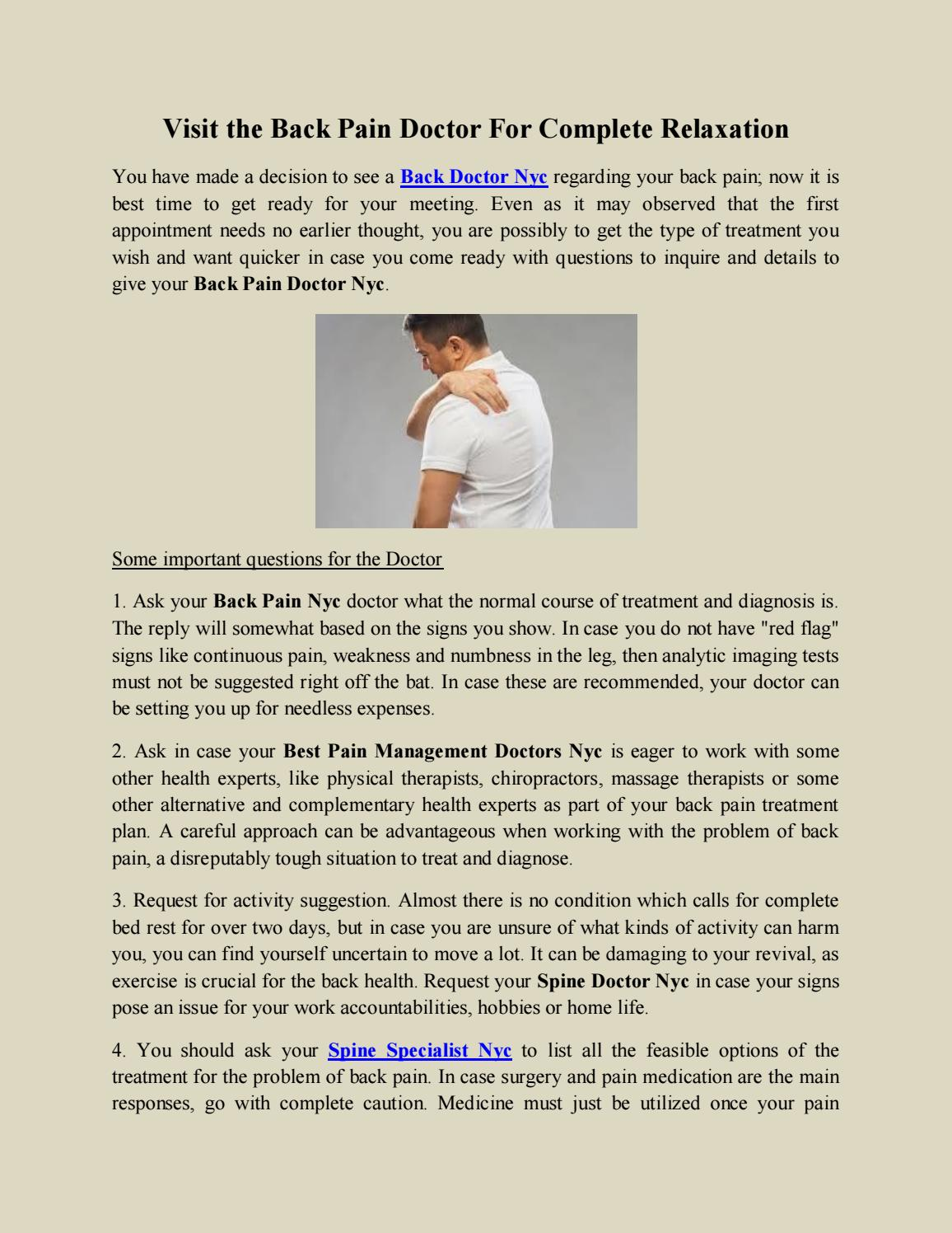 Visit the Back Pain Doctor For Complete Relaxation by