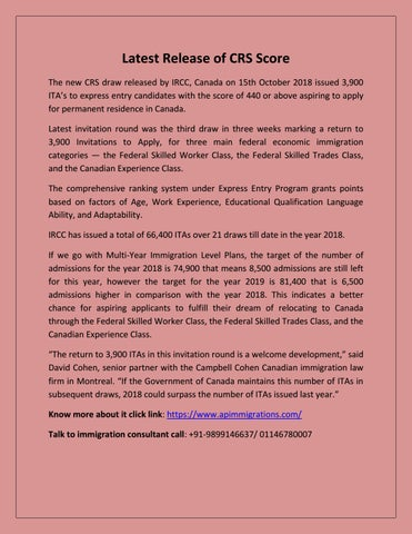 Latest Release of CRS Score by Canada pr visa - AP