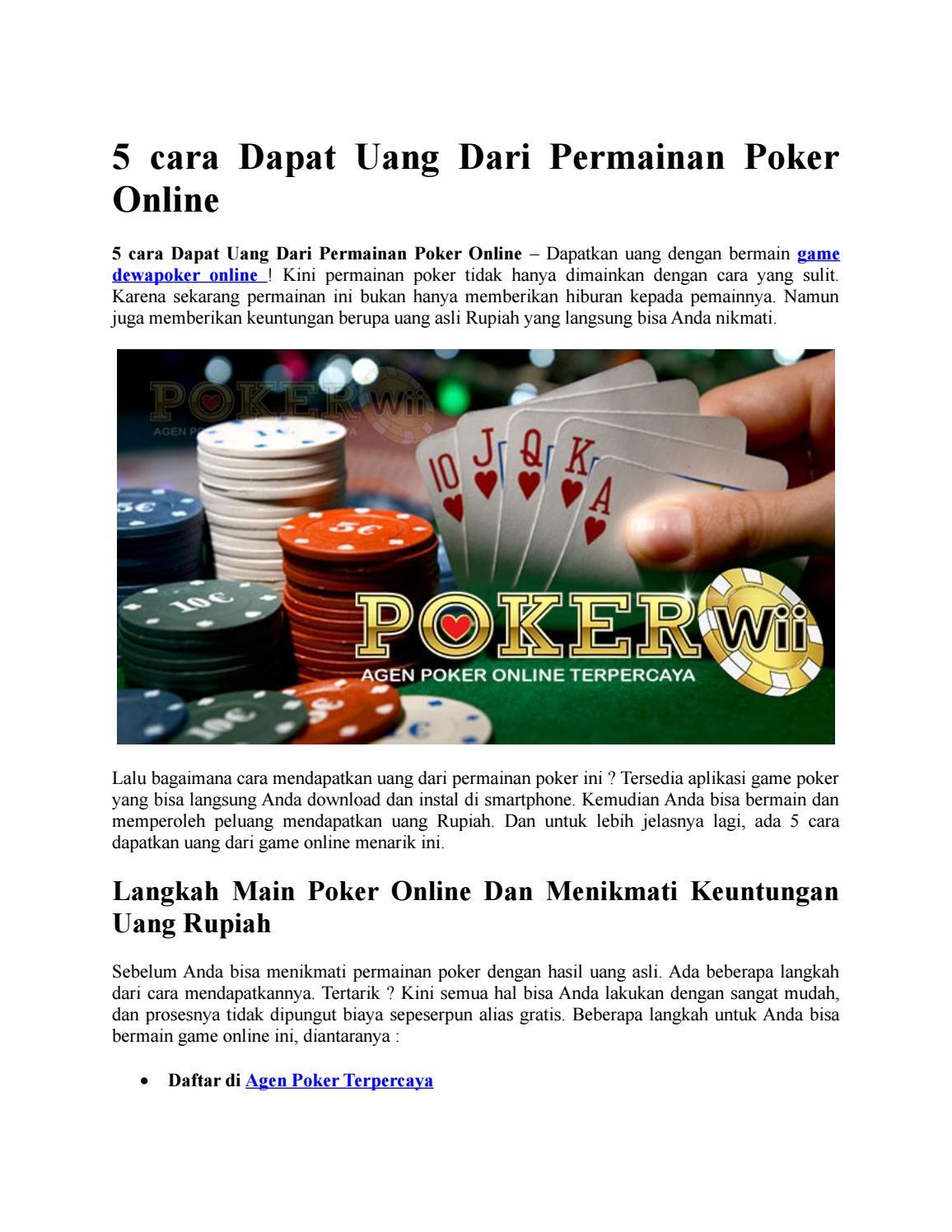 5 Cara Dapat Uang Dari Permainan Poker Online By Milenia Ocarina Issuu