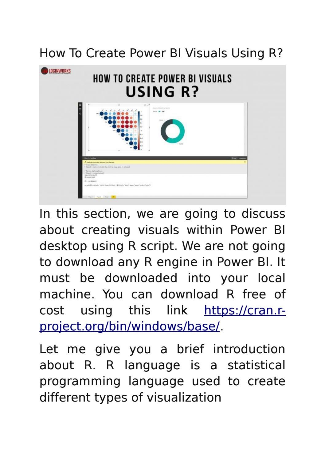 How To Create Power BI Visuals Using R? by loginworks - issuu
