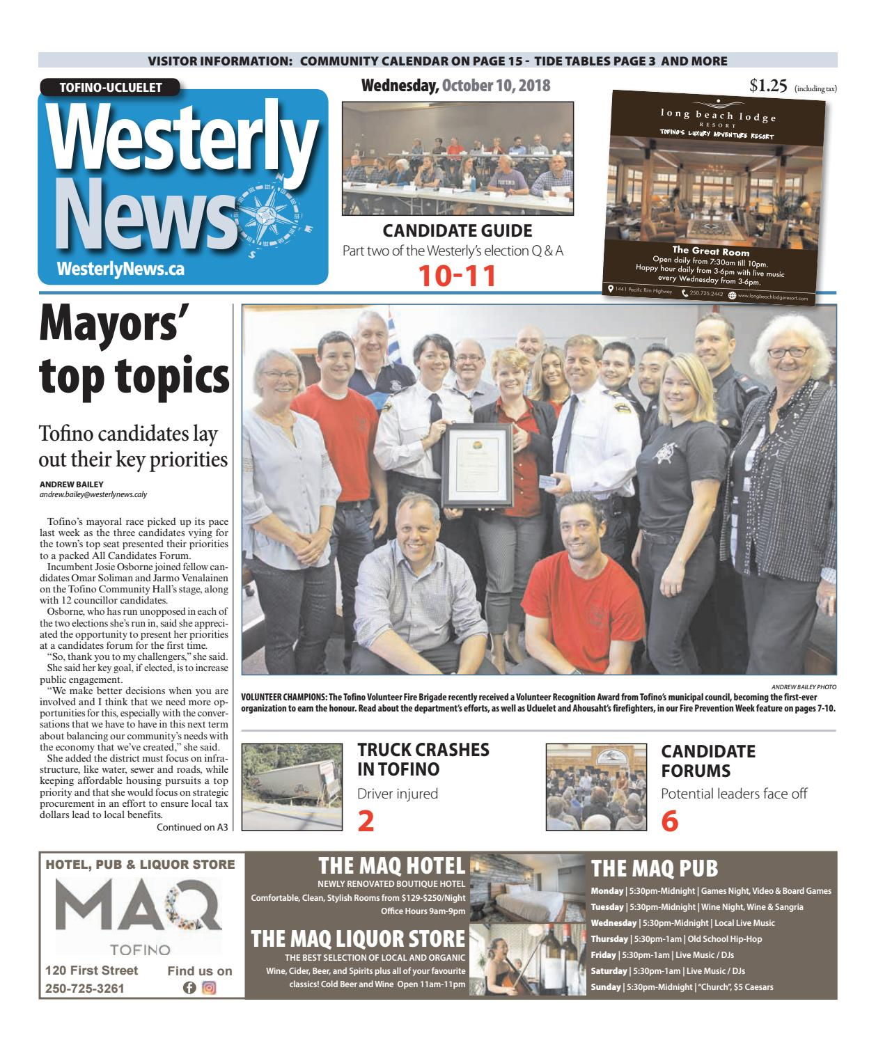 Tofino-Ucluelet Westerly News, October 10, 2018 by Black