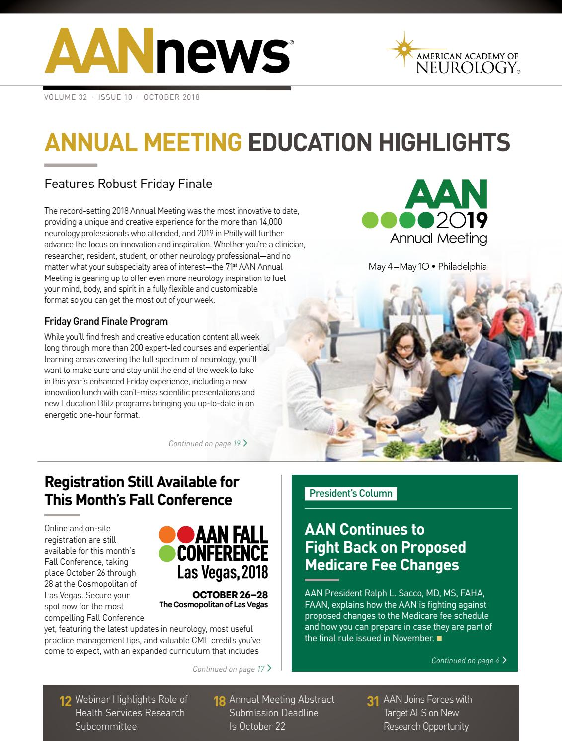 2018 October AANnews by American Academy of Neurology - issuu