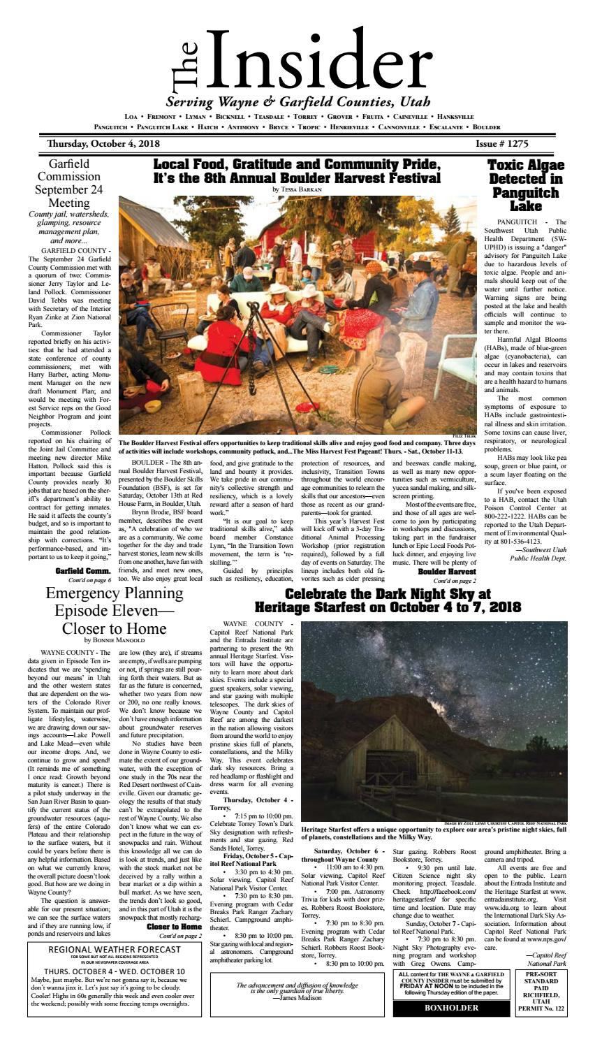The Wayne & Garfield County Insider October 4, 2018 by