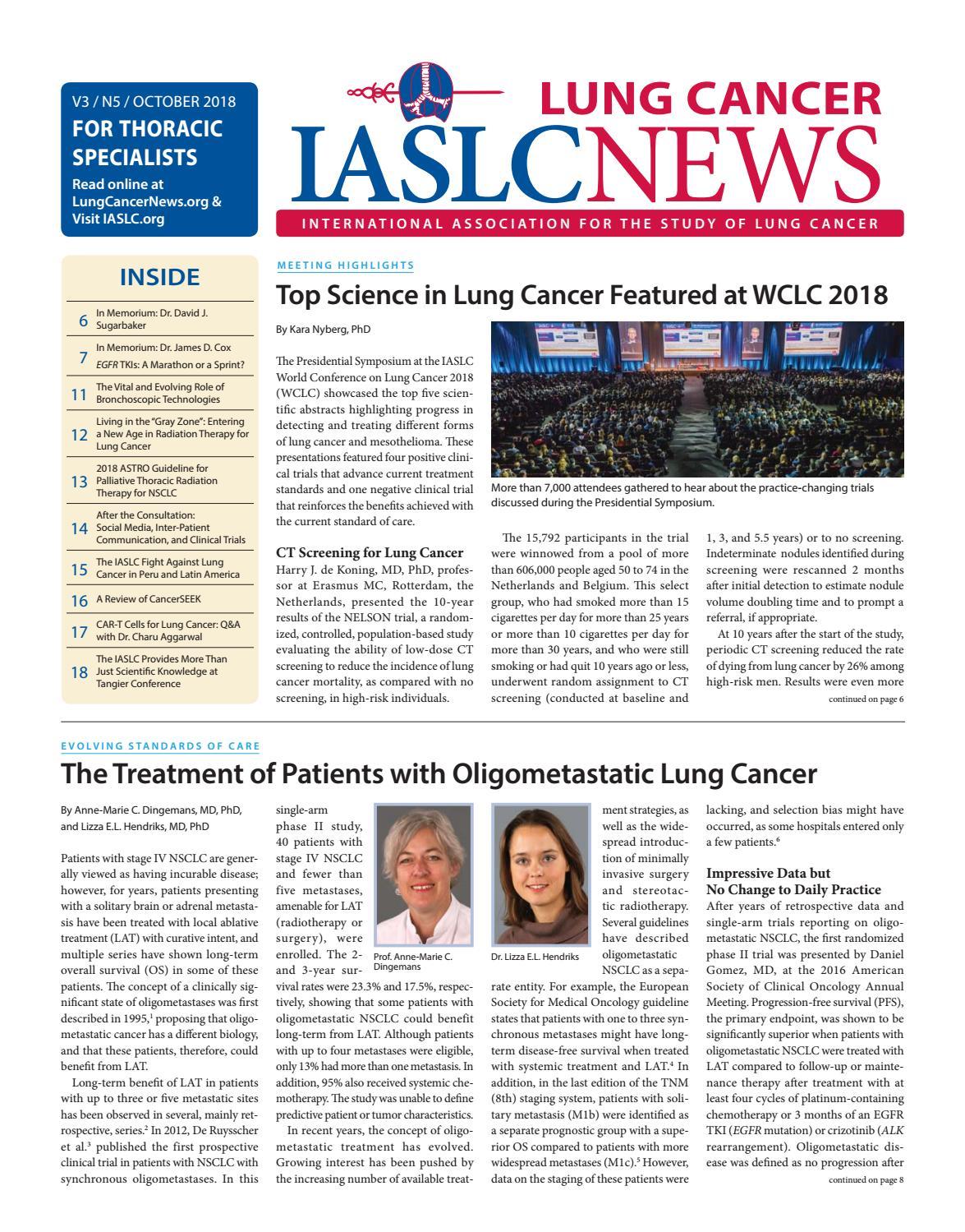 IASLC Lung Cancer News - October 2018 by IASLC - issuu