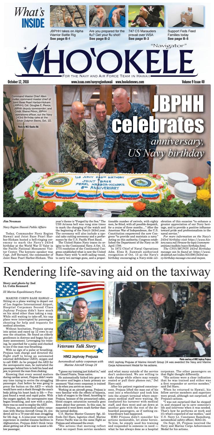 Ho'okele - Oct  12, 2018 (Pearl Harbor-Hickam Newspaper) by