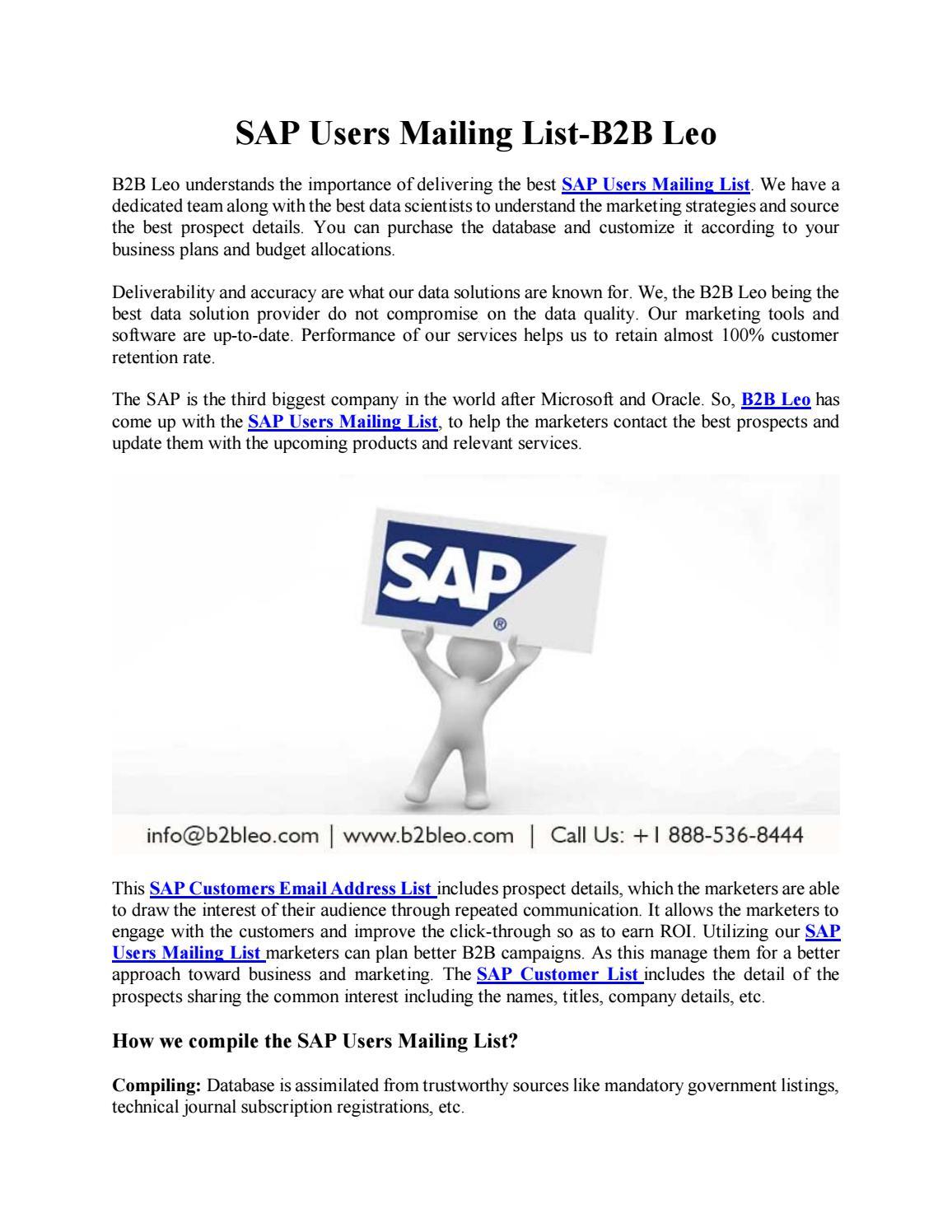 SAP Users Mailing List-B2B Leo by B2B Business List - issuu