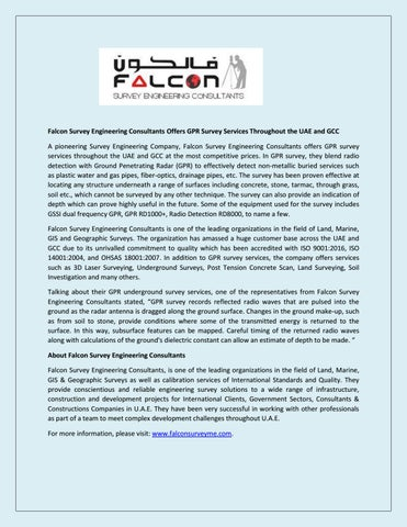 Falcon Survey Engineering Consultants Offers GPR Survey Services