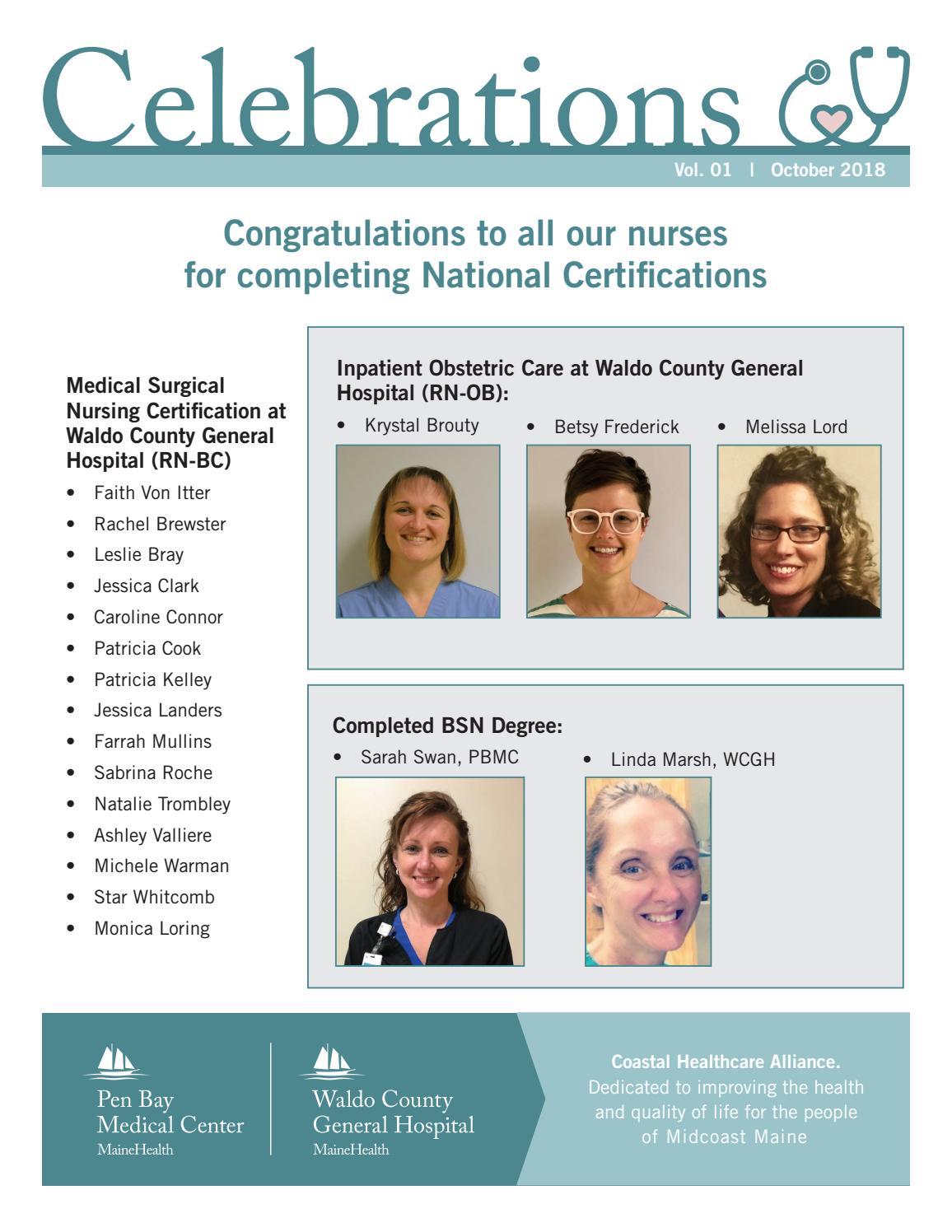 Celebrations Nursing Newsletter - October 2018 by Pen Bay Medical