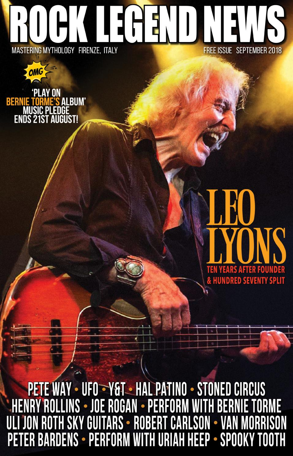 Rock Legend News September 2018 Issue Featuring Bass Legend