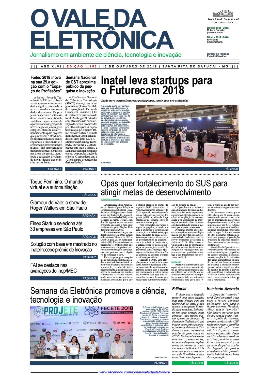 0a7a86827a O Vale da Eletrônica   Edição 1.153   13 de outubro de 2018 by Jornal O  Vale da Eletrônica - issuu