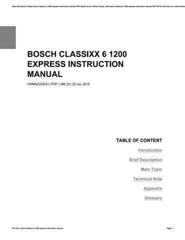 bosch washing machine classixx 6 1200 express manual
