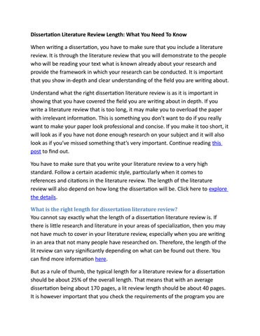 dissertation lit review