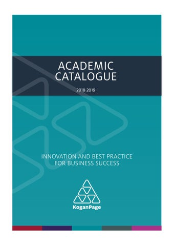 f7b999a26 Academic Catalogue 2018-19 (USD) by Kogan Page - issuu