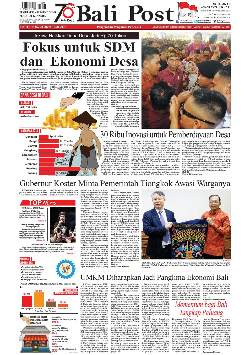 Edisi Sabtu 10 Oktober 2018 Balipostcom By E Paper Kmb Issuu Produk Ukm Bumn Ring Mutiara Mas Putih Laut