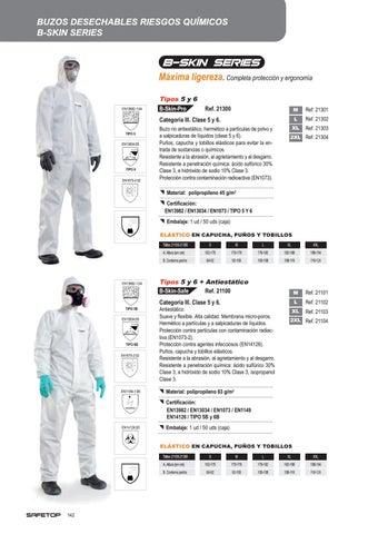 EN1149-5 Talla XL Buzo Polipropileno Con Certificado EN14126//03 EN1073-2